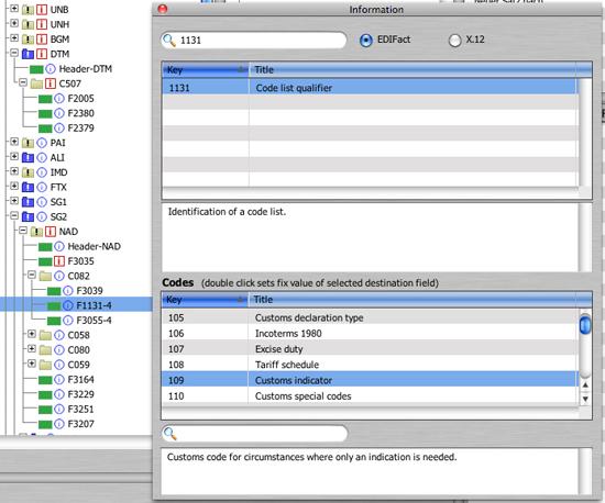 Mögliche Codes für das Feld 1131 (DataWizard)