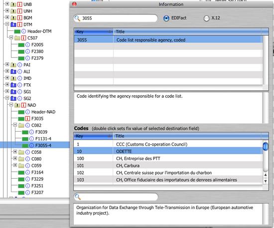 Mögliche Codes für das Feld 3055 (DataWizard)