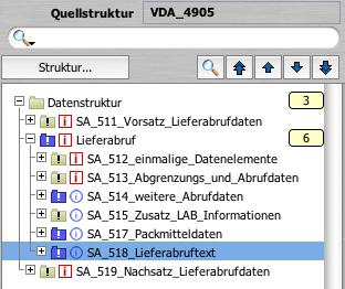 Aufbau des VDA 4905 Lieferabrufes, dargestellt im Lobster DataWizard